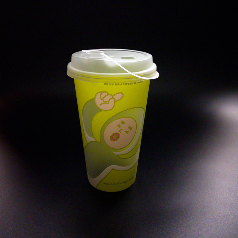 16 oz Boba tea cups customized disposable PP in mold labeling beverage container